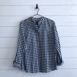 Talbots Petites Gingham Pullover Top Blouse